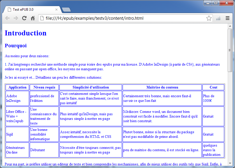Une table sous Chrome